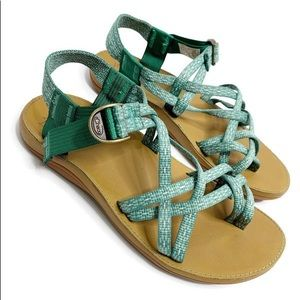 Women's Chaco Green Diana Strappy Leather Sandals